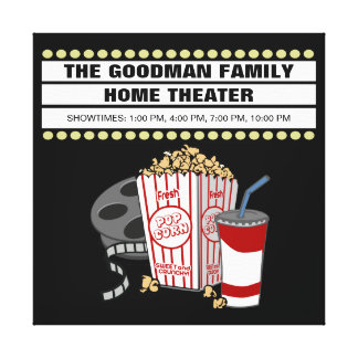 Personalized Family Home Movie Theater Customized Canvas Print