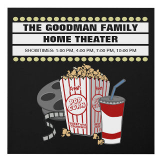 Personalized Family Home Movie Theater Customized Panel Wall Art