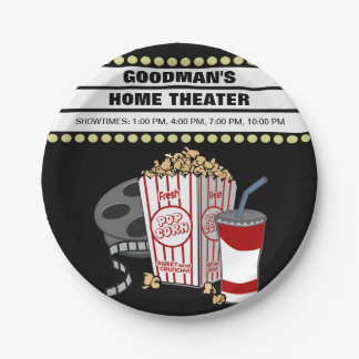 Personalized Family Home Movie Theater Customized Paper Plate