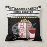 "Personalized Family Home Movie Theater Customized Throw Pillow<br><div class=""desc"">This fun pillow is perfect for your Home Theater! This design features a movie film reel, popcorn, soda and a custom movie marquee on a black background. Easily personalize the movie marquee with a name or other text. The black background can easily be changed to the color of your choice...</div>"