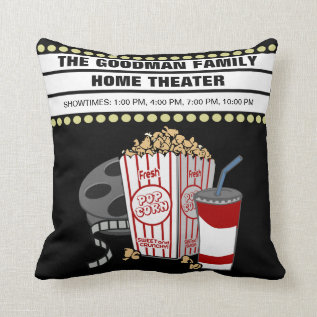 Personalized Family Home Movie Theater Customized Throw Pillow at Zazzle