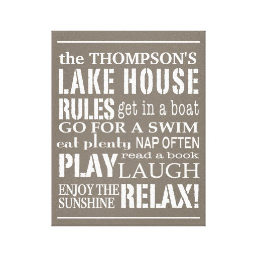 Personalized Family Lake House Rules Brown | White Gallery Wrap Canvas