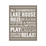 Personalized Family Lake House Rules Brown   White Canvas Print