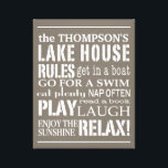 """Personalized Family Lake House Rules Brown 