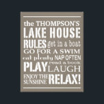 "Personalized Family Lake House Rules Brown | White Canvas Print<br><div class=""desc"">Trendy and personalized wall art in a soft sun-washed brown with lettering in white. Customize with your family name and let everyone know the &quot;rules&quot; of the lake house that need to be followed. From going boating to napping often, the order of the day is to RELAX! Easily customize the...</div>"