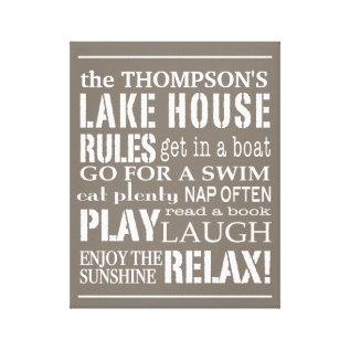 Personalized Family Lake House Rules Brown | White Canvas Print at Zazzle