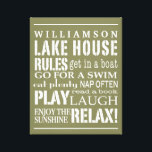 "Personalized Family Lake House Rules Green | White Canvas Print<br><div class=""desc"">Trendy and personalized wall art in a soft, earthy, khaki green with lettering in white. Customize with your family name and let everyone know the &quot;rules&quot; of the lake house that need to be followed. From going boating to napping often, the order of the day is to RELAX! Easily customize...</div>"