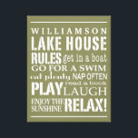 """Personalized Family Lake House Rules Green 