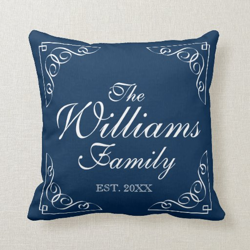 Personalized family last name blue throw pillows zazzle for Personalized last name university shirts