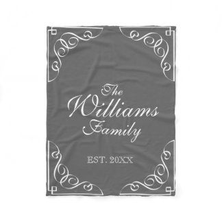 Personalized family last name gray fleece blanket
