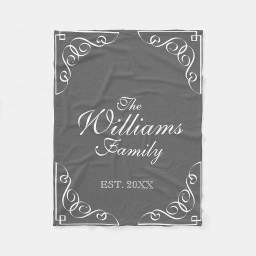 Personalized family last name gray fleece blanket zazzle for Personalized last name university shirts