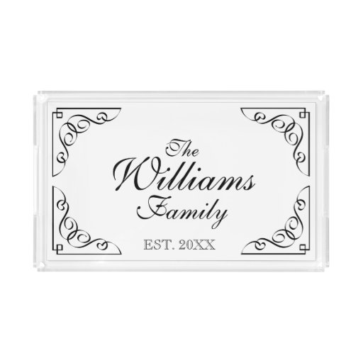Personalized family last name vanity serving tray zazzle for Personalized last name university shirts