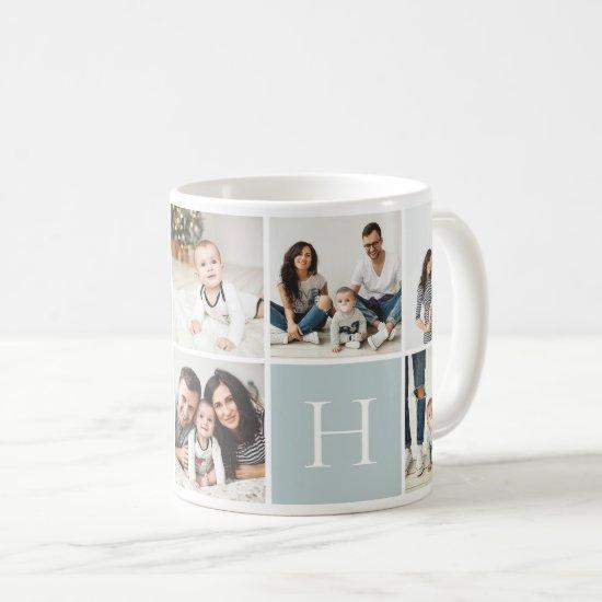 Personalized Family Monogram 9 Photo Collage Coffee Mug