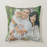 Personalized Family Monogram and Custom Photo Throw Pillow