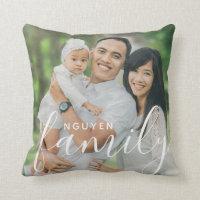Personalized Family Monogram and Custom Photo Throw Pillow