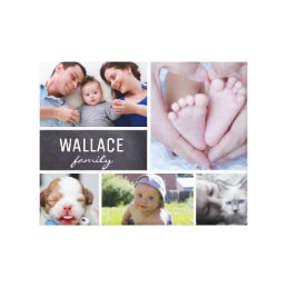 Personalized Family Name, 5 Photo Collage Canvas Print