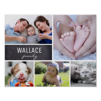 Personalized Family Name, 5 Photo Collage Poster