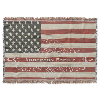 Personalized Family Name America Flag Wood Texture Throw