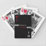 """personalized family name   black bicycle playing cards<br><div class=""""desc"""">A stylish design inspired by music,  with custom name,  and with a treble clef symbol...  perfect for days with family</div>"""