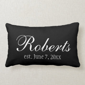 Personalized Family Name Black Toss Pillow