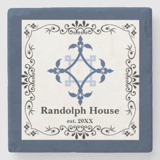Personalized Family Name Blue Stone Coaster