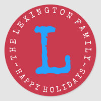 Personalized Family Name Happy Holidays Envelope Classic Round Sticker