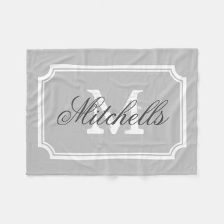 Personalized family name monogram fleece blanket