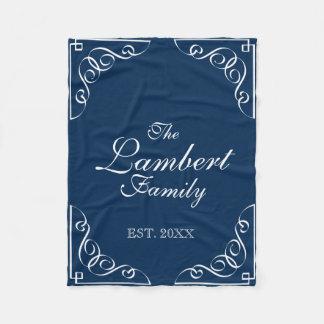 Personalized family name navy blue fleece blanket