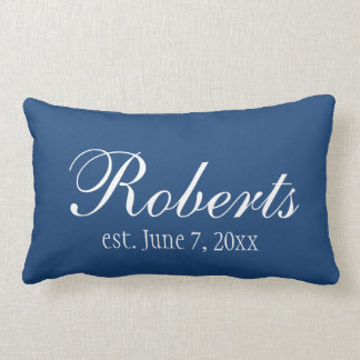 Personalized Family Name Navy Blue Toss Pillow