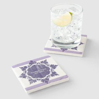 Personalized Family Name Purple Ornamental Stone Coaster