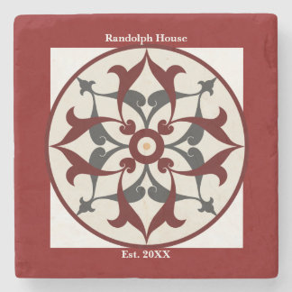 Personalized Family Name Red Ornamental Stone Coaster