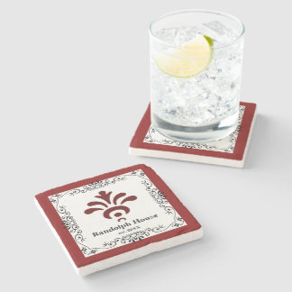 Personalized Family Name Red Stone Coaster