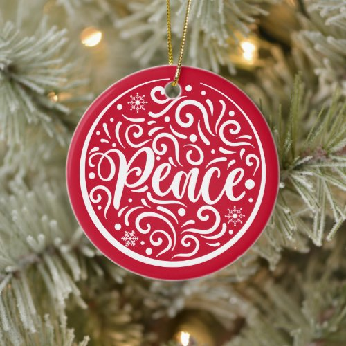 Personalized Family Peace Christmas Holiday Red Ceramic Ornament