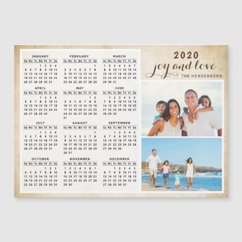 Personalized Family Photo 2020 Magnet Calendar