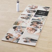 Personalized Family Photo Collage   Black Monogram Yoga Mat