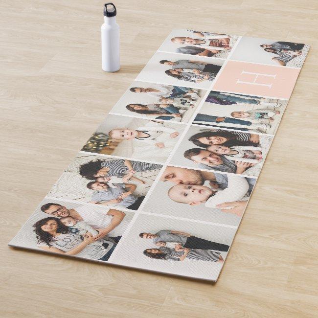 Personalized Family Photo Collage | Blush Monogram Yoga Mat