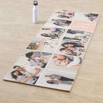 Personalized Family Photo Collage   Blush Monogram Yoga Mat