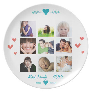 Personalized Family Photo Collage Dinner Plate