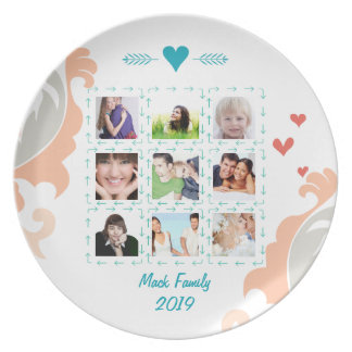 Personalized Family Photo Collage Melamine Plate