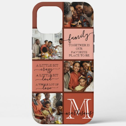 Personalized Family Photo Collage Monogram Quotes Phone Case