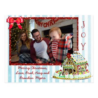 Personalized Family Photo Gingerbread House Cards