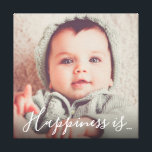 """Personalized Family Photo   Happiness is... Canvas Print<br><div class=""""desc"""">Cute family square photo canvas featuring your own picture and the sweet words &quot;happiness is... &quot; in a calligraphy script font.</div>"""