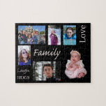 "Personalized Family Photo Puzzle<br><div class=""desc"">Add your own images to this personalized family photo puzzle to make a unique gift. Perfect for moms, dads, grandparents, or any member of the family! Everyone will love trying to put together the puzzle to discover six photos of your family along with the words Love, Family. Laughs and Hugs....</div>"