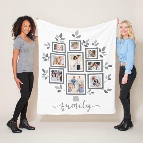 Personalized family photo tree fleece blanket