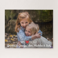 Personalized Family Photo We Love You Grandparents Jigsaw Puzzle