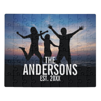 Personalized Family Photo with Family Name Jigsaw Puzzle