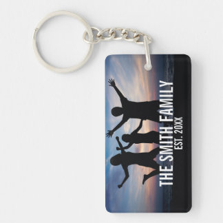 Personalized Family Photo with Family Name Keychain