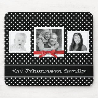 Personalized Family Photos and Polka Dots Mouse Pad