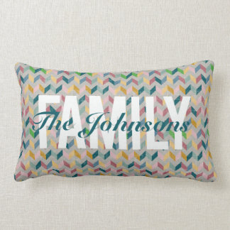 Personalized Family Pillow in Modern Herringbone
