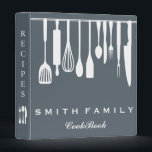 "Personalized Family Recipe Cookbook 3 Ring Binder<br><div class=""desc"">This is beautiful personalized recipe book full of favorite dishes, organized into one beautiful binder. Personalized with your text on the front, and featuring an original illustration of a white fork, knife, and spoon surrounded by a curly swirly border on a burlap looking background. Kitchen tools Recipe binder would be...</div>"